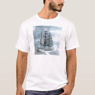 adventure winter snow storm vintage pirate ship T-Shirt