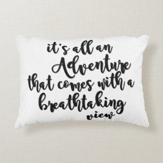 adventure with a breathtaking view black white accent pillow