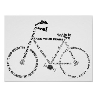 Adventure Words Bicycle Poster