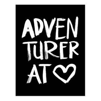 Adventurer At Heart | White Brush Script Style Postcard