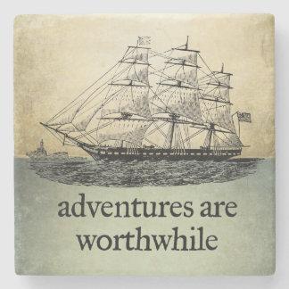 Adventures Are Worthwhile Stone Beverage Coaster