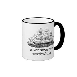 Adventures Are Worthwhile Ringer Coffee Mug