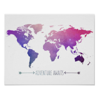 adventures await watercolor map, world poster