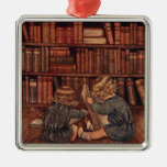 Adventures in the Library Square Metal Christmas Ornament