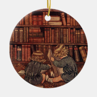Adventures in the Library Double-Sided Ceramic Round Christmas Ornament