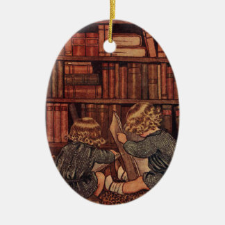 Adventures in the Library Double-Sided Oval Ceramic Christmas Ornament