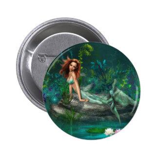 Adventurine Mermaid 2 Inch Round Button