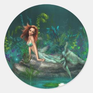 Adventurine Mermaid Classic Round Sticker