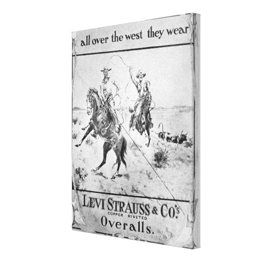 Advert for Levi Strauss & Co, c.1900 (litho) Canvas Print
