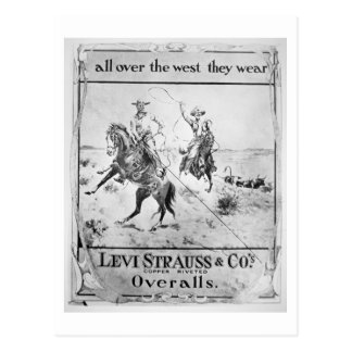 Advert for Levi Strauss & Co, c.1900 (litho) Postcard