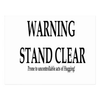 Advertencia - actos incontrolables del abrazo tarjeta postal