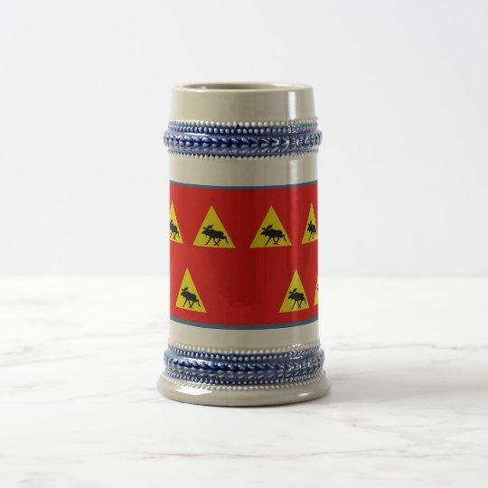 Advertencia antes del alce jarra de cerveza