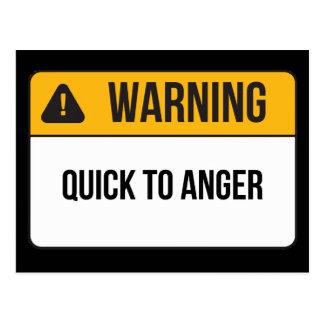 Advertencia - aprisa a la cólera tarjeta postal