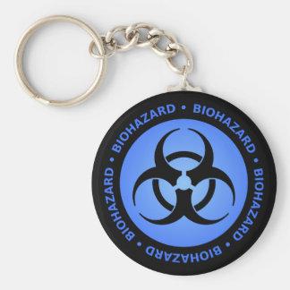 Advertencia azul del Biohazard Llavero Redondo Tipo Pin