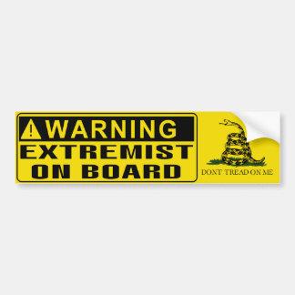 ADVERTENCIA - bandera de Gadsden del extremista a Pegatina Para Auto