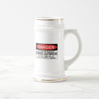 Advertencia - brote del zombi jarra de cerveza