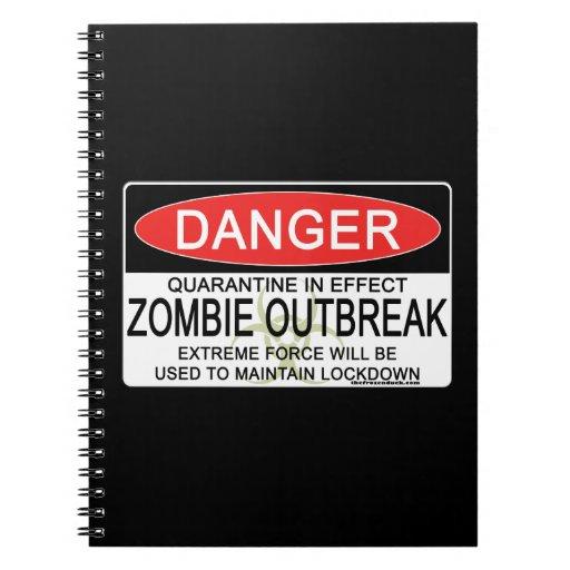 Advertencia - brote del zombi libros de apuntes con espiral