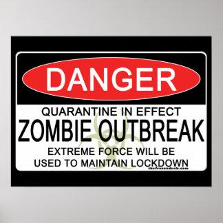 Advertencia - brote del zombi posters