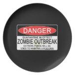 Advertencia - brote del zombi platos de comidas