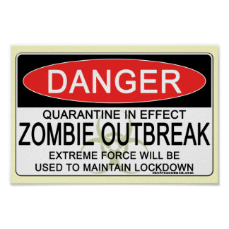 Advertencia - brote del zombi póster