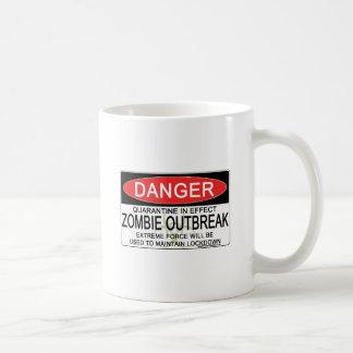 Advertencia - brote del zombi tazas de café