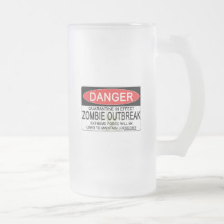 Advertencia - brote del zombi taza de cristal