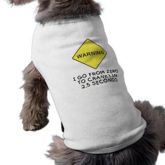 advertencia Cero-a-irritable Playera Sin Mangas Para Perro