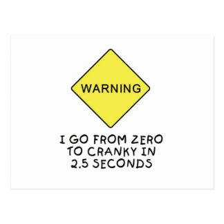 advertencia Cero-a-irritable Tarjeta Postal