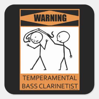 ¡Advertencia! Clarinetist bajo temperamental Colcomanias Cuadradas