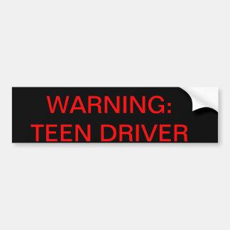 Advertencia: conductor adolescente pegatina para auto