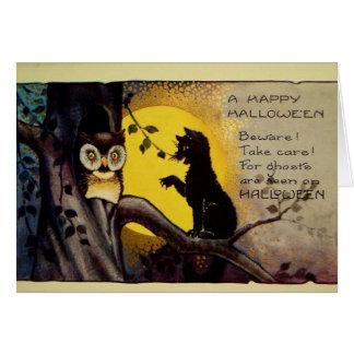 Advertencia de Halloween del búho y del gato negro Tarjeta De Felicitación