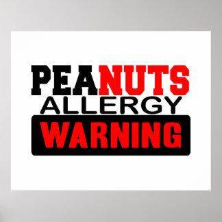 Advertencia de la alergia de los cacahuetes póster