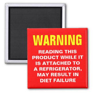 Advertencia de la dieta imán cuadrado
