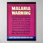 Advertencia de la malaria posters