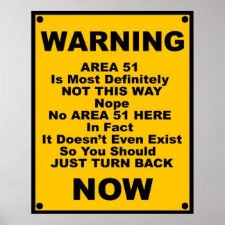 Advertencia de la parodia del ~ del área 51 póster