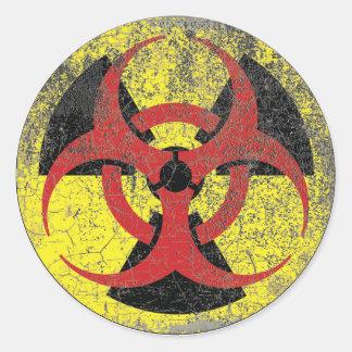 Advertencia de la radiación del Biohazard Pegatina Redonda