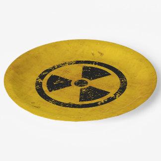 Advertencia de la radiación del peligro del feliz platos de papel