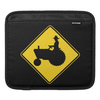Advertencia de la señal de tráfico del tractor de  mangas de iPad