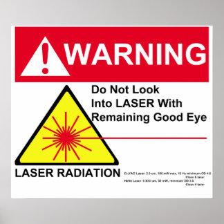 Advertencia de laser póster