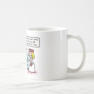 advertencia de miranda del sacerdote del boda taza de café