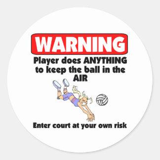 Advertencia de VolleyChick Pegatina Redonda