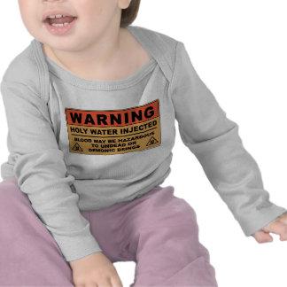 Advertencia del agua santa camiseta