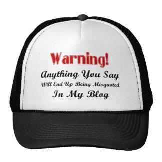 Advertencia del blog gorra