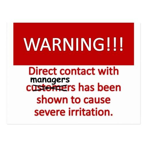 Advertencia del encargado postales