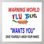 Advertencia del insecto de la gripe impresiones