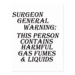 Advertencia del inspector general de sanidad tarjeta postal