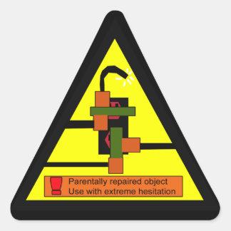 advertencia del juryrig pegatina trianguloada