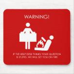 Advertencia del puesto de informaciones alfombrillas de ratón