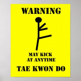 Advertencia del Taekwondo de los artes marciales Póster