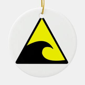 Advertencia del tsunami adorno navideño redondo de cerámica